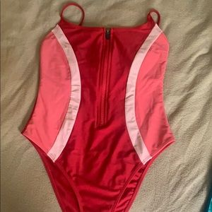 Zipper color block swimsuit